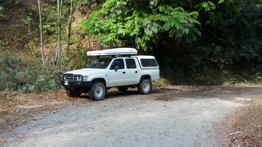 The Hilux with the rooftop tent
